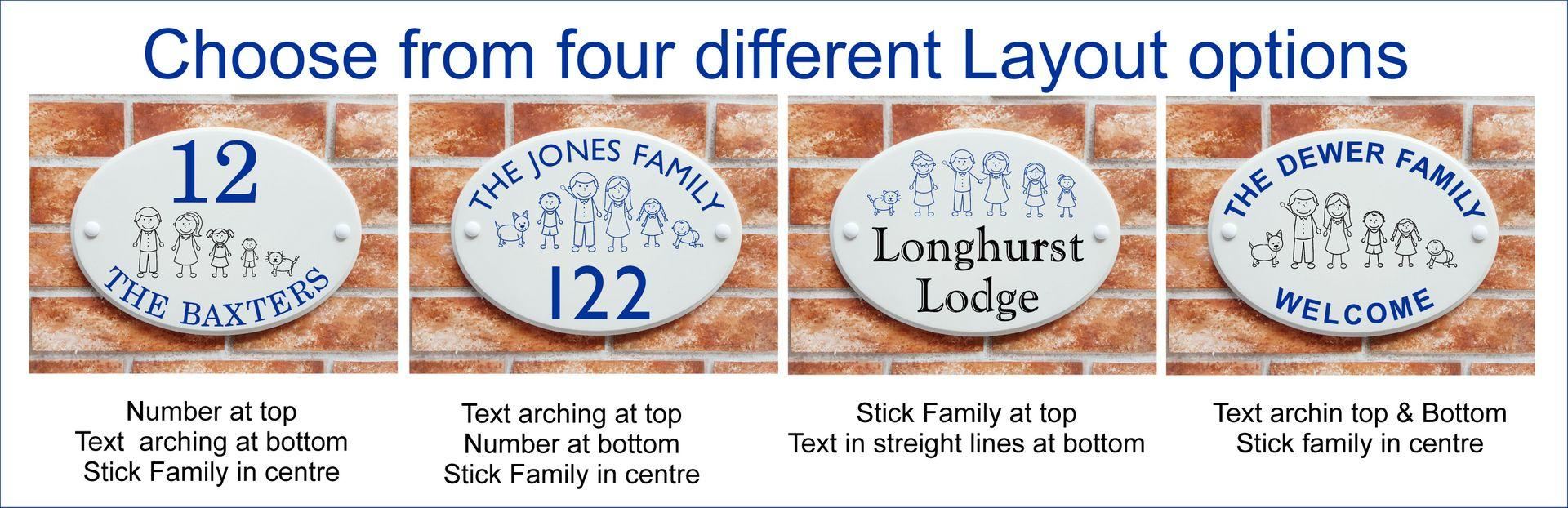 Text and number layout options for stick characters house sign