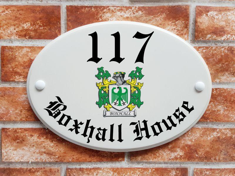Heraldic crest house plaque