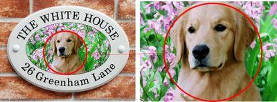 Ceramic style house name plate with golden retriever