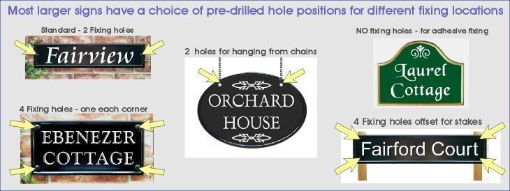 graphic showing different positions of fixing hols for house signs made by yoursigns ltd