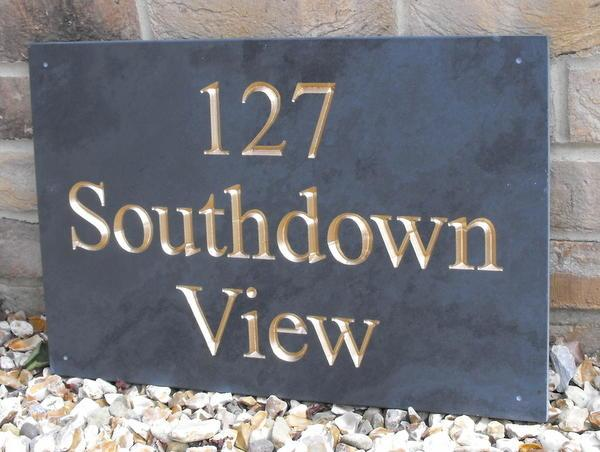 Slate sign with number, address and gold inlay