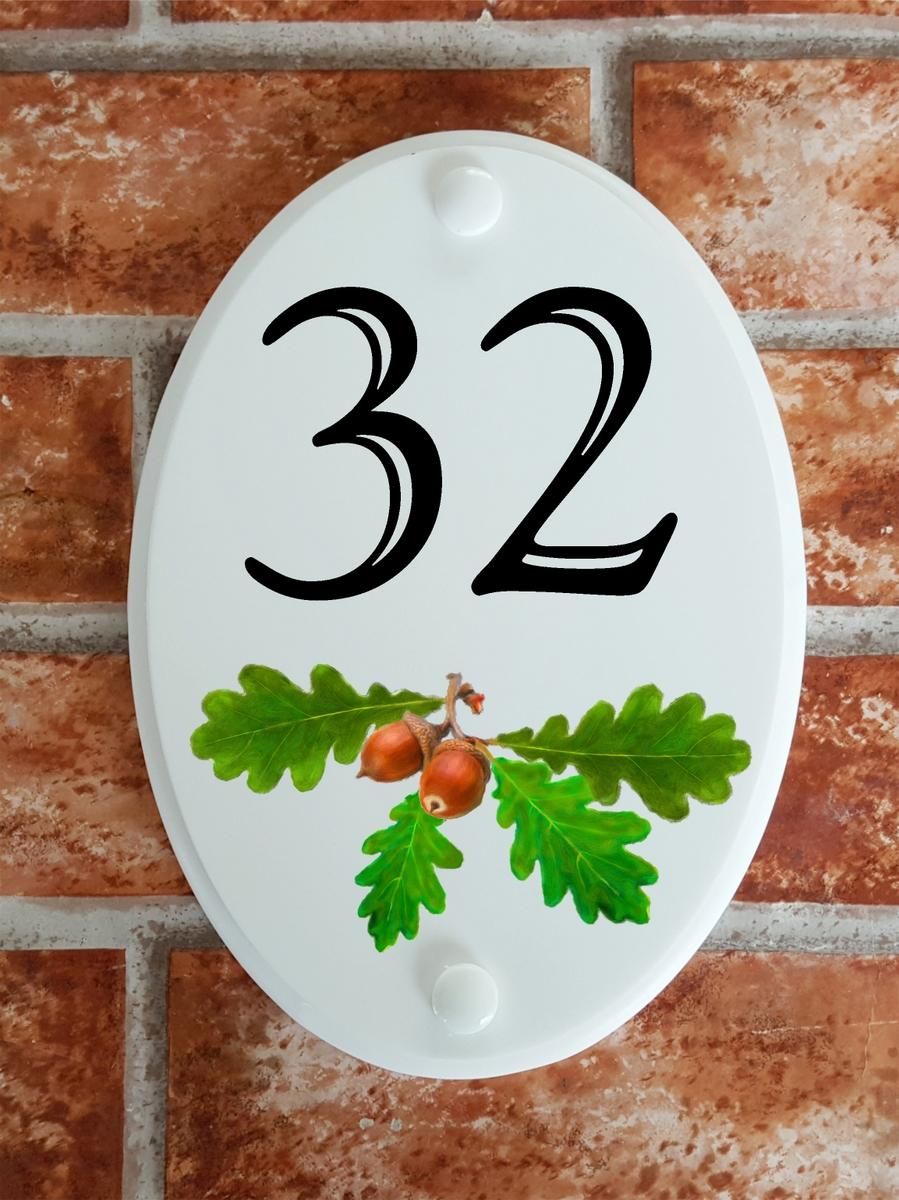 Oak leaves and acorns motif house number plaque