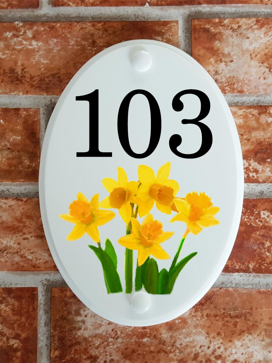 house number sign with daffodils floral motif