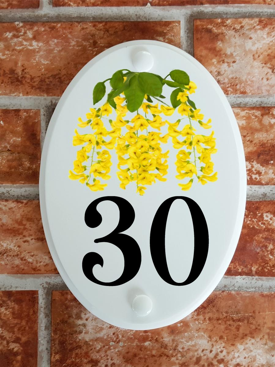 house number plaque with laburnum flowers
