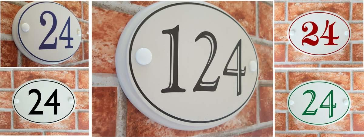 house number plates with coloured number digits