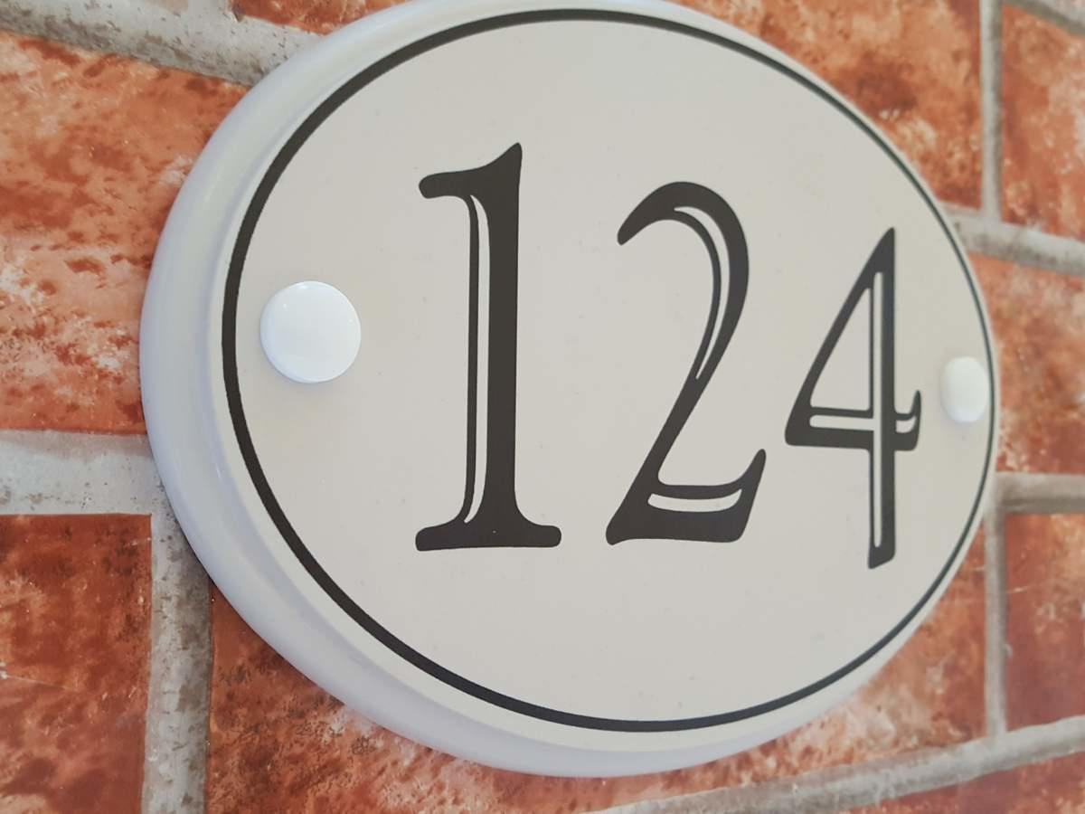 Classic oval house number plaque