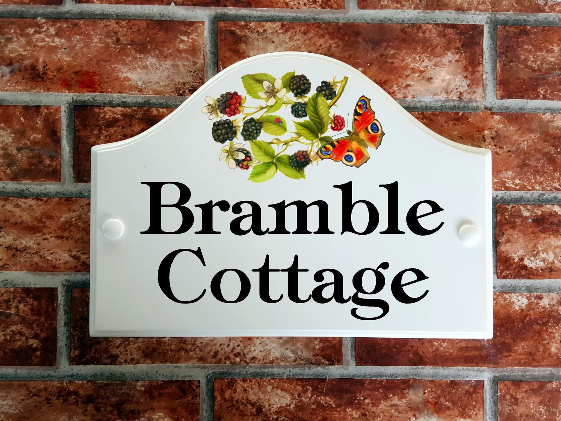 Decorative House sign for Bramble Cottage