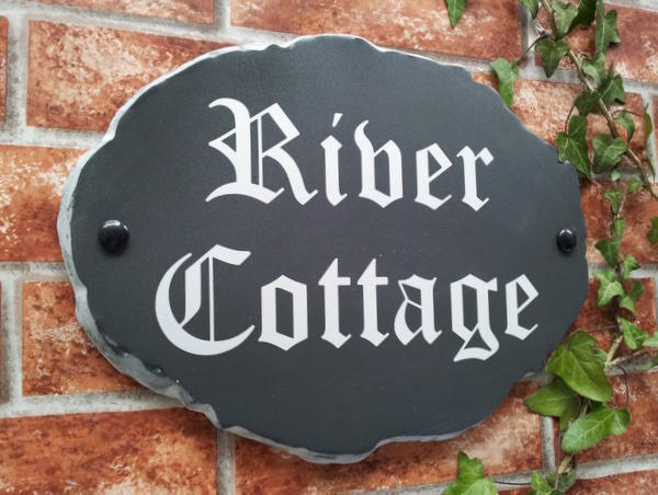 Large rustic oval house name sign with River Cottage