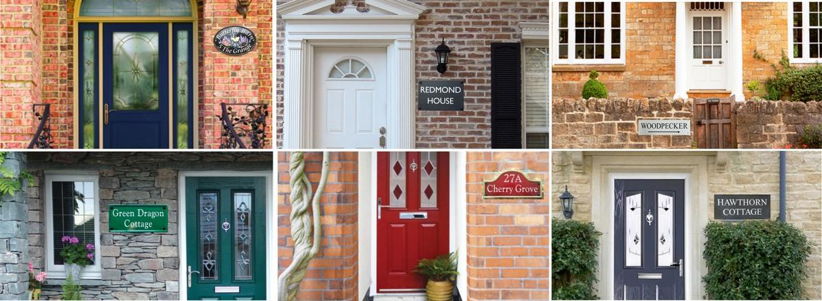 Collage of house signs in situ