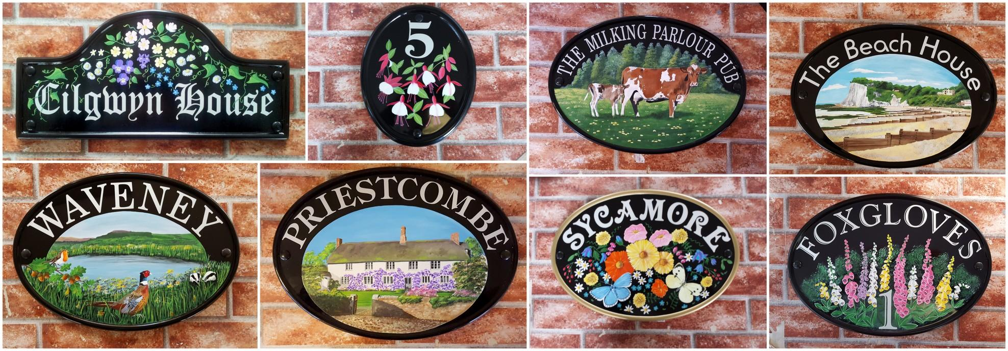 Collage depicting hand painted house signs