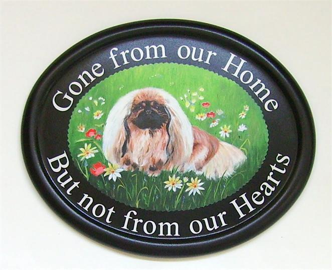 Pekingese portrait memorial  plaque