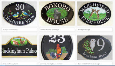 House signs with animal pictorials