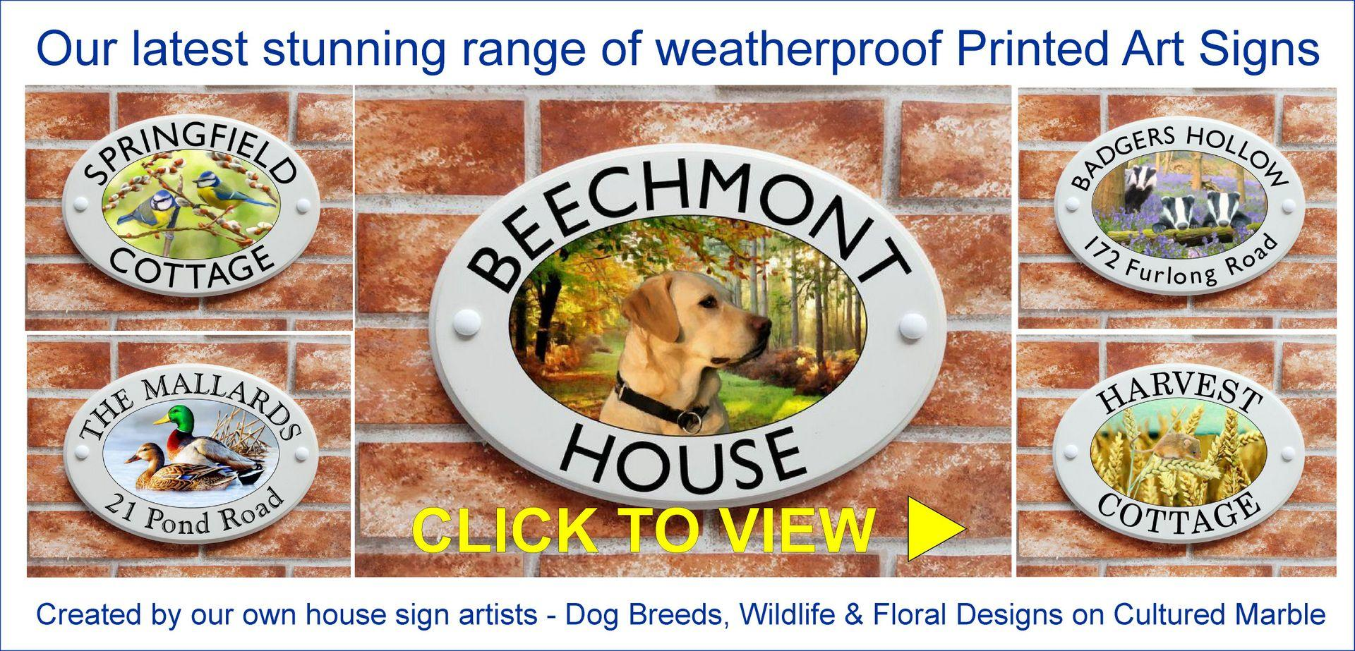 House signs with Art pictures of dogs, wildlife, flower designs and motifs