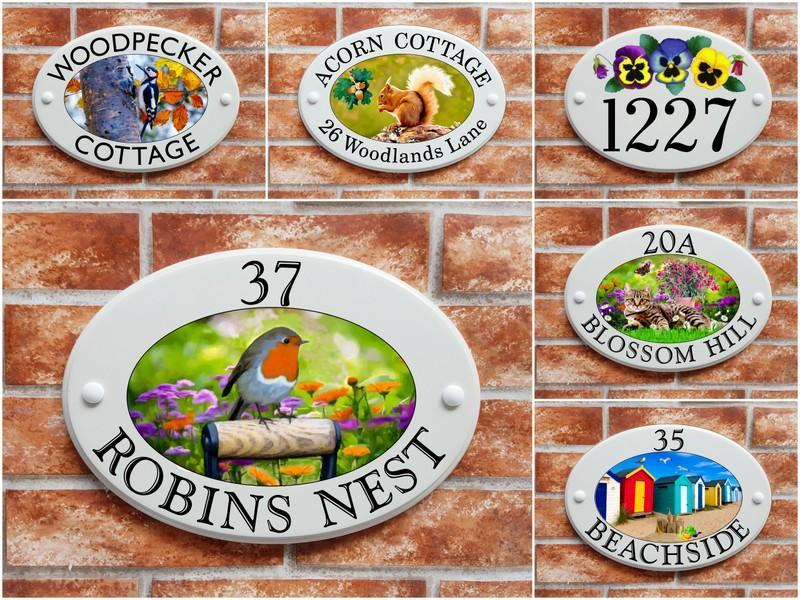 Ceramic style house plaques with printed art pictures