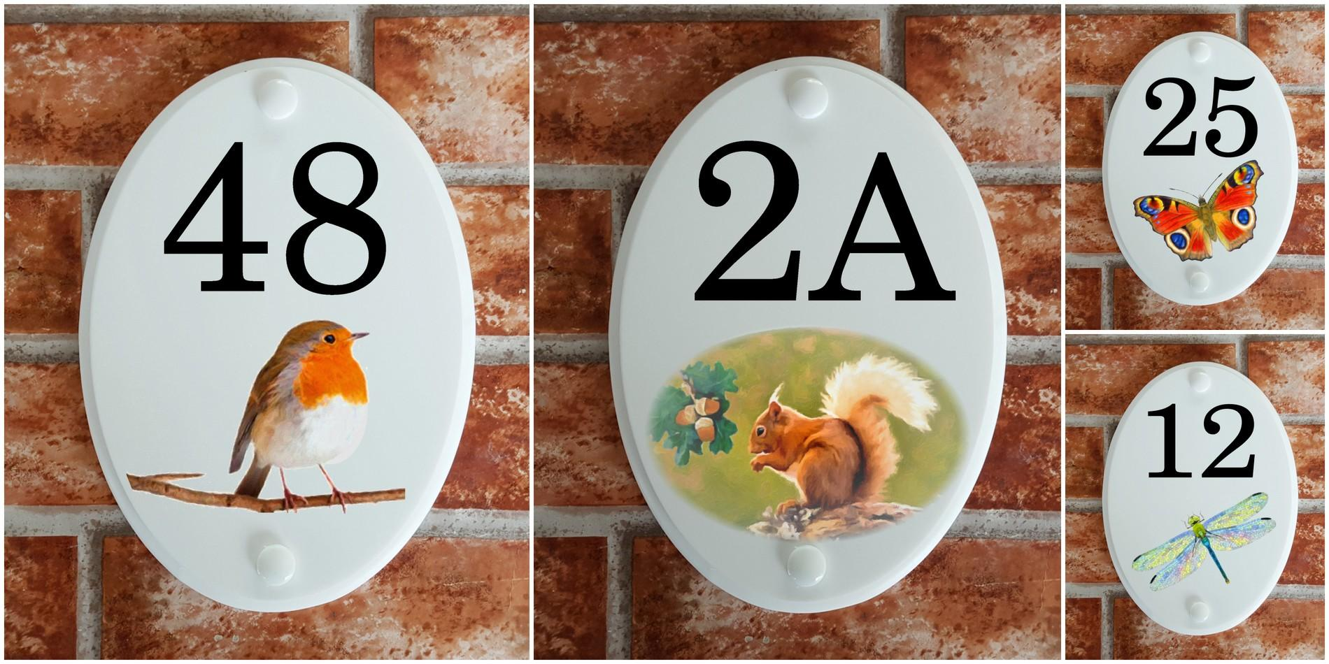 House number plaques with Animal motifs