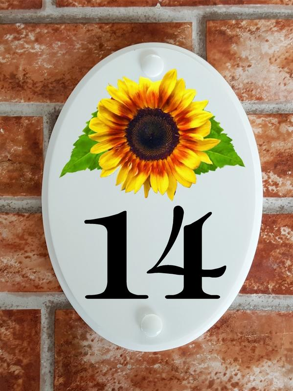 Sunflower motif house number plaque