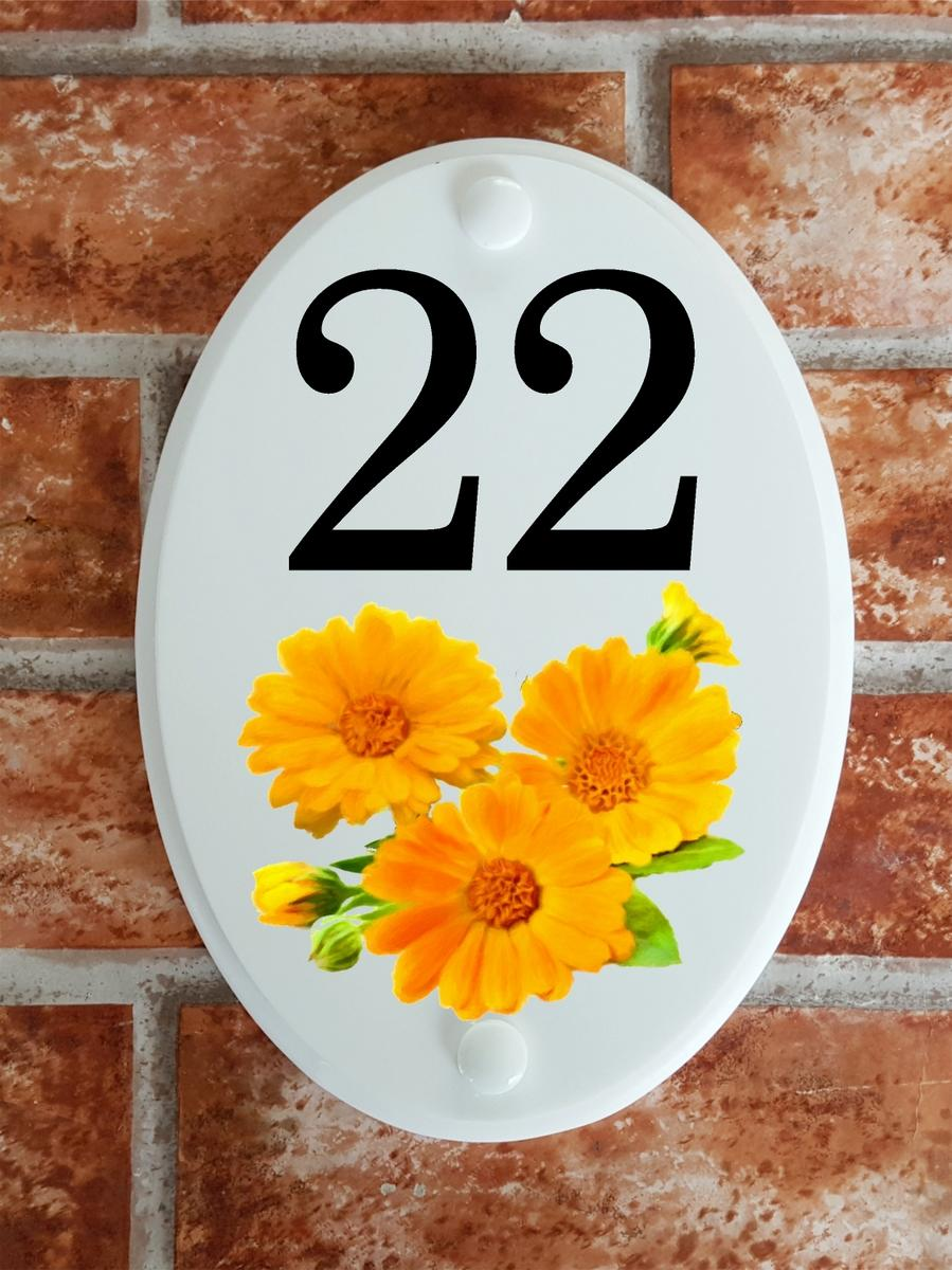 House number plaque with calendula flowers picture