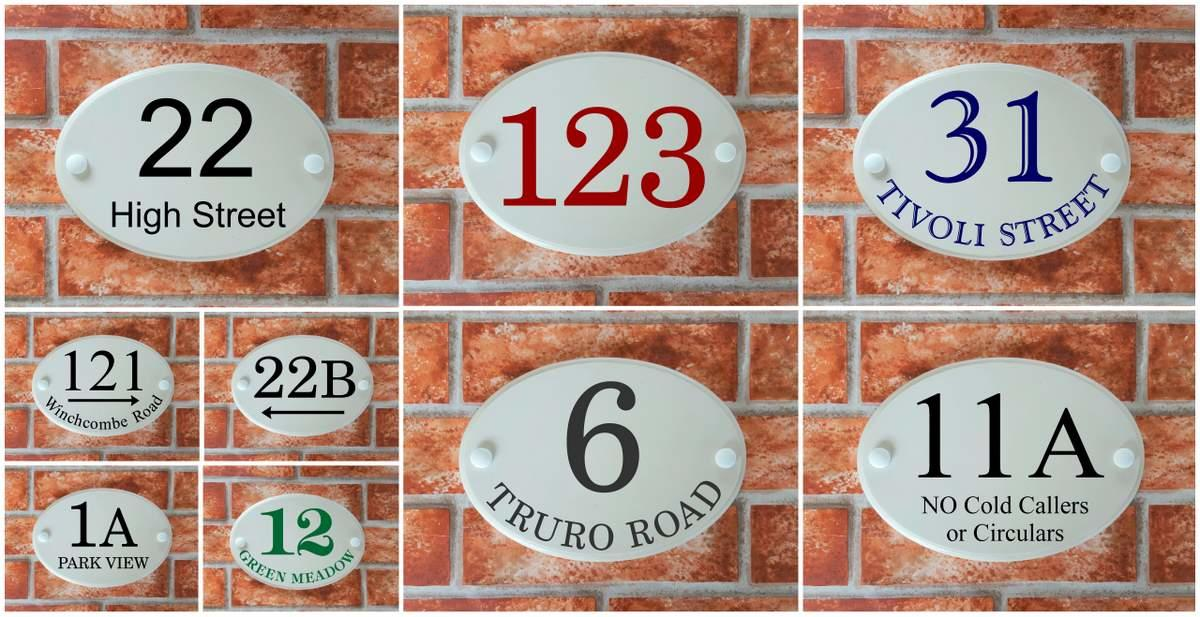oval house number & street signs