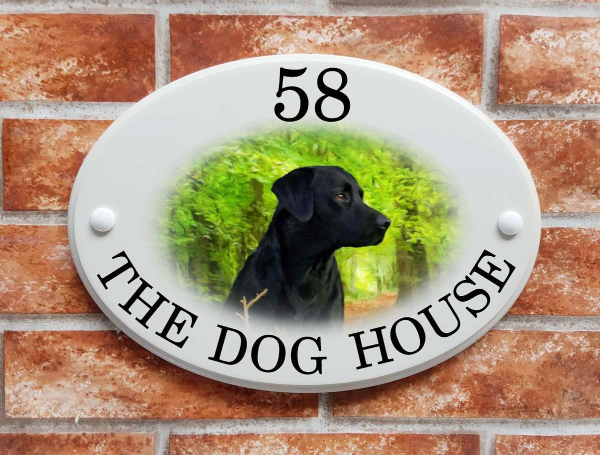Black Labrador house plaque (Code 067)