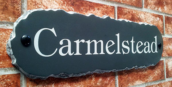 Rustic house plaque with Carmelstead 430mm x 115mm
