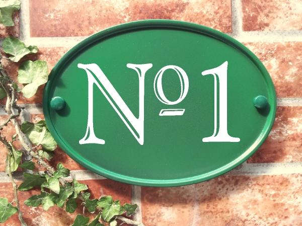 Large number plaque in green with No 1