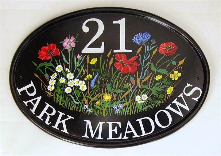 Meadow flowers home address plaque