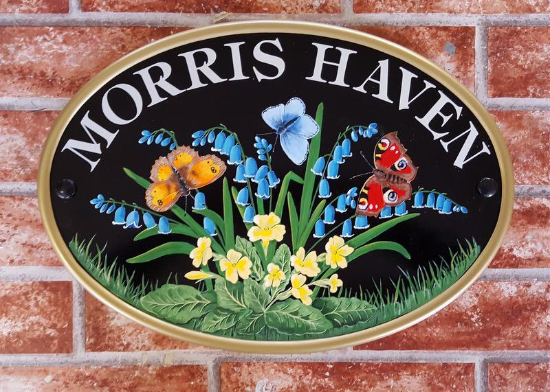 Butterflies and flowers house plaque