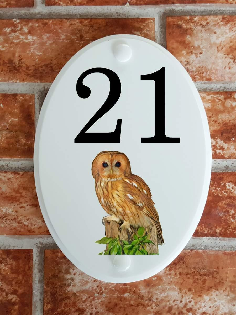 tawny owl house number plaque