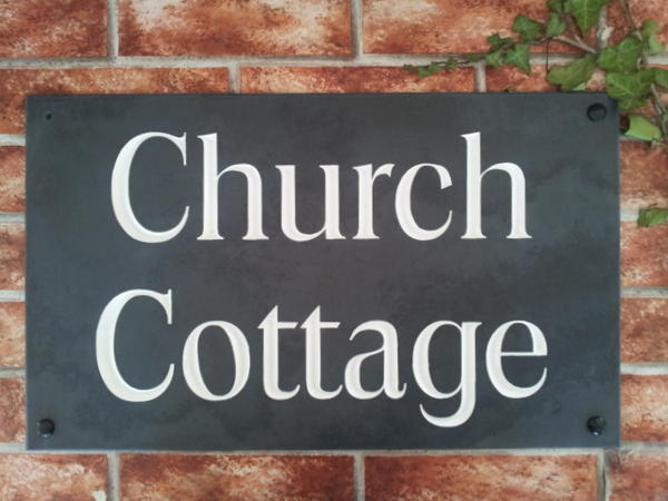 Large slate house name sign with Church Cottage - 500mm x 300mm