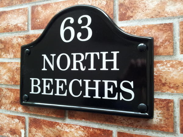 Bridge top house sign with house name and number 290mm x 220mm
