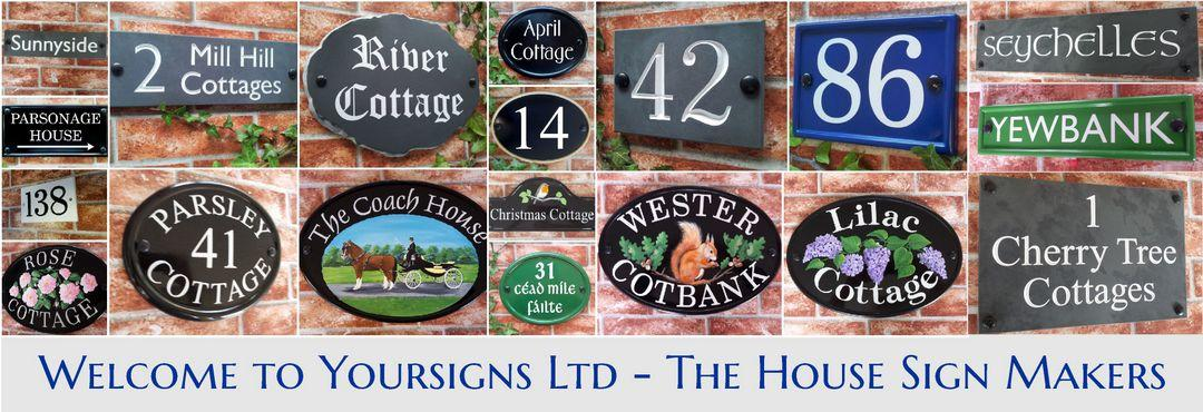 montage of house name and number signs by Yoursigns Ltd