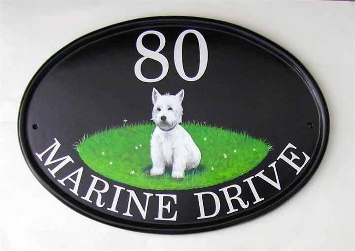 White scottie dog address plate