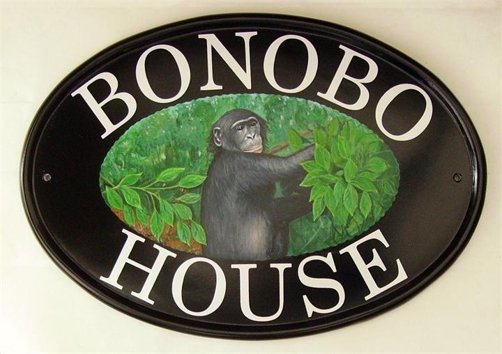 Bonobo monkey house sign