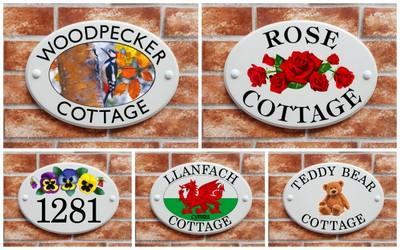 ceramic style house signs with artistic prints