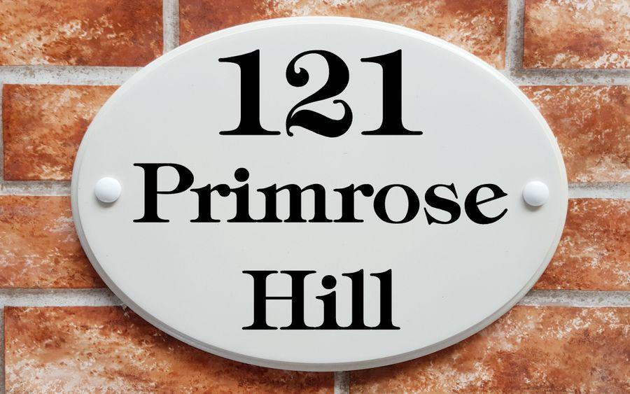 oval white home address plaque