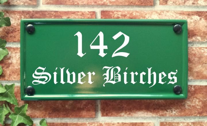Home address plaque in green with address in size 298mm by 140mm
