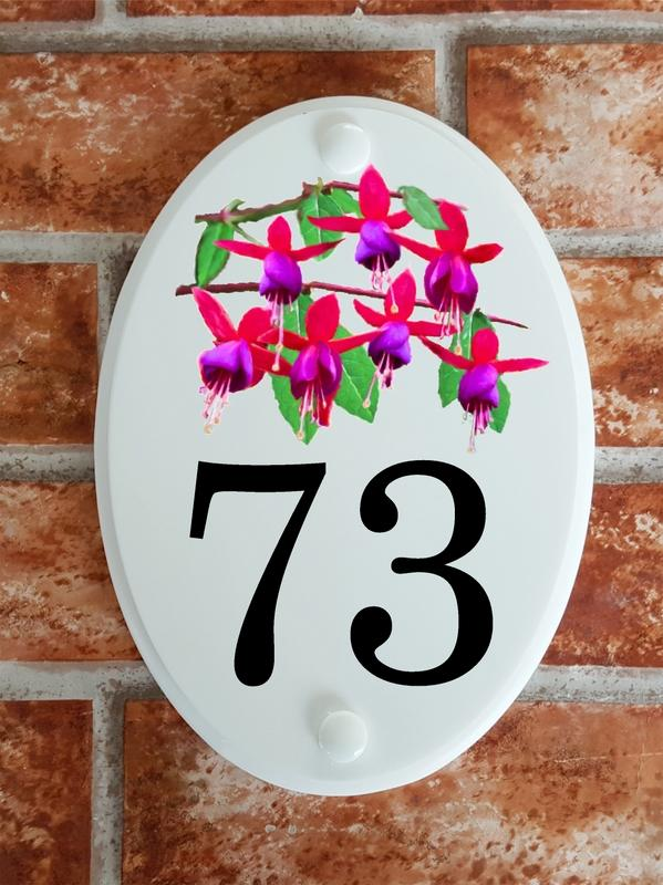 Floral Motif house number with fuchsias