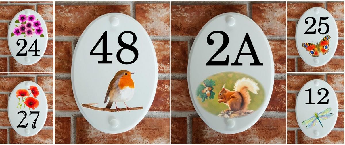 House number plaques with Animal & Floral motifs