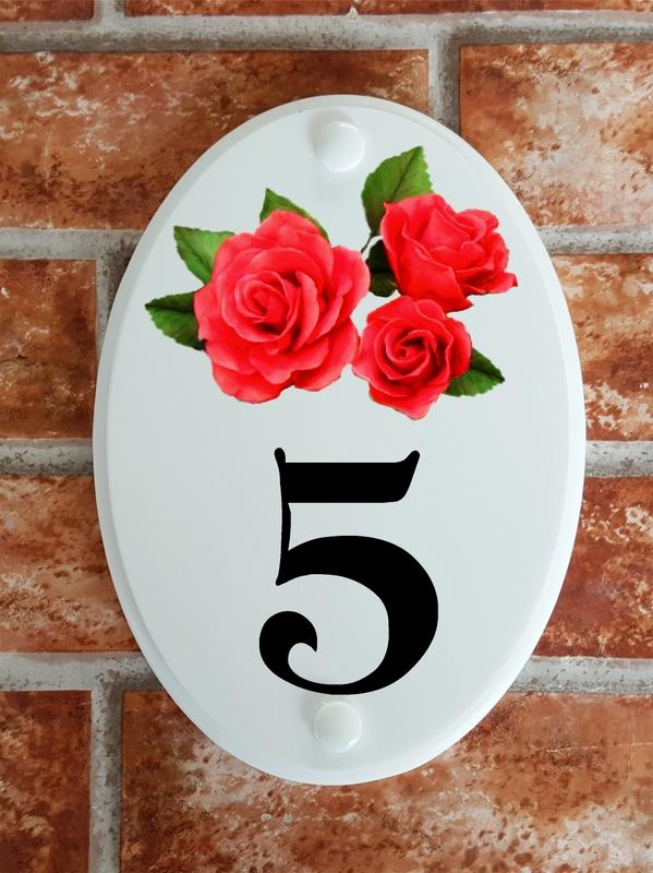 Hous number sign with pink roses motif