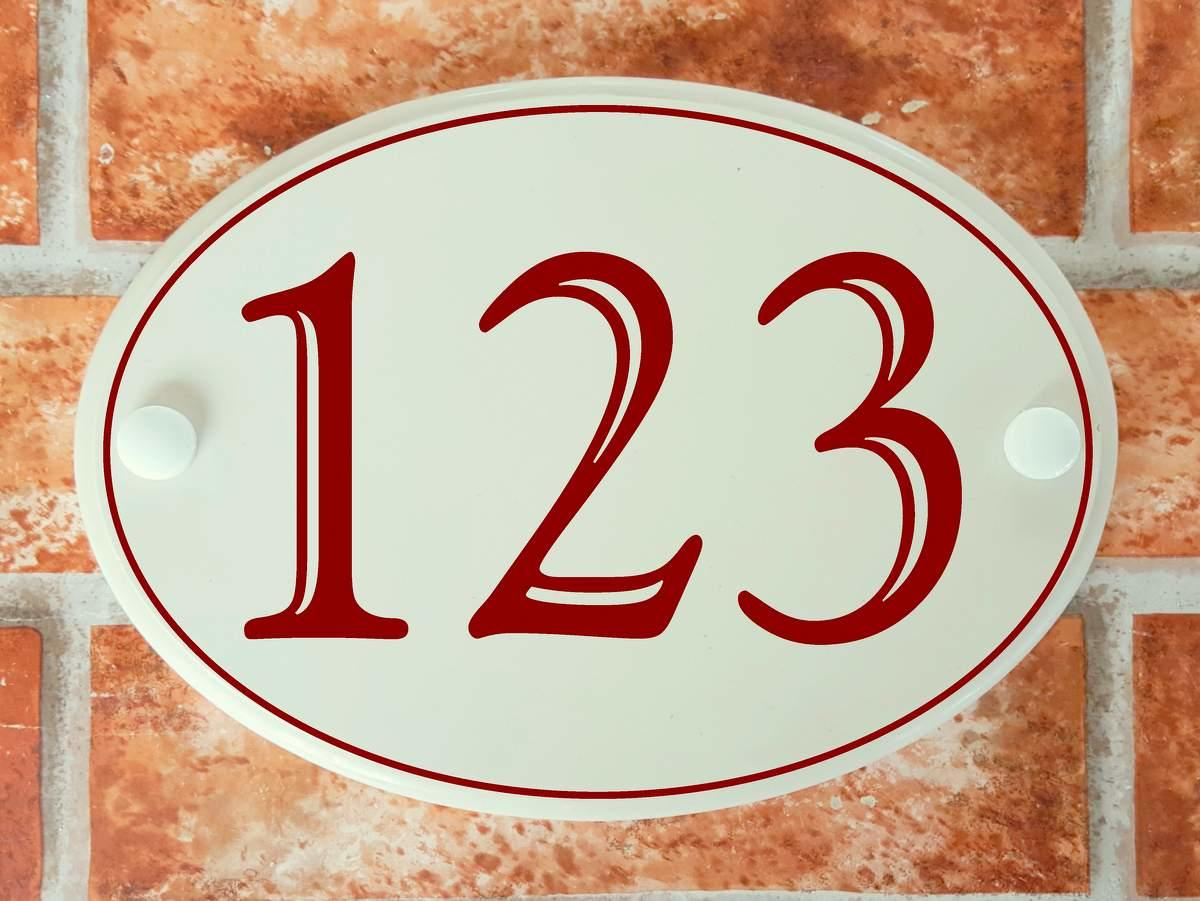 Oval classic English home number plaque