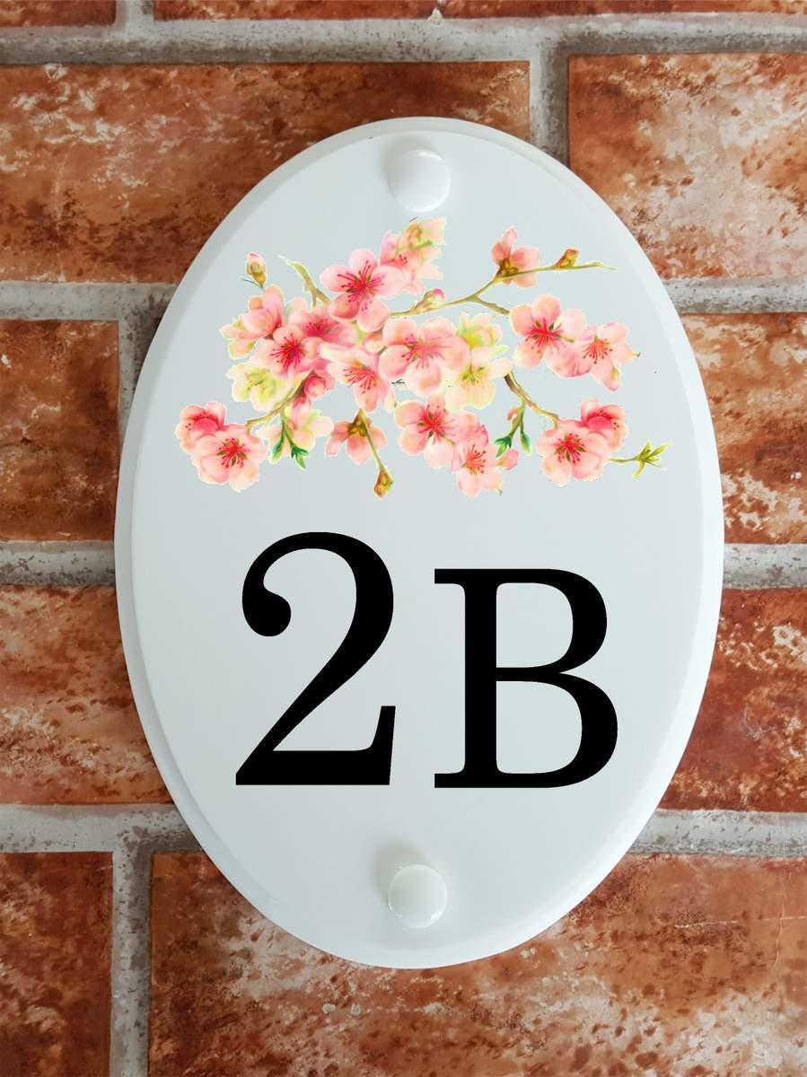 house number plaque with cherry blossom