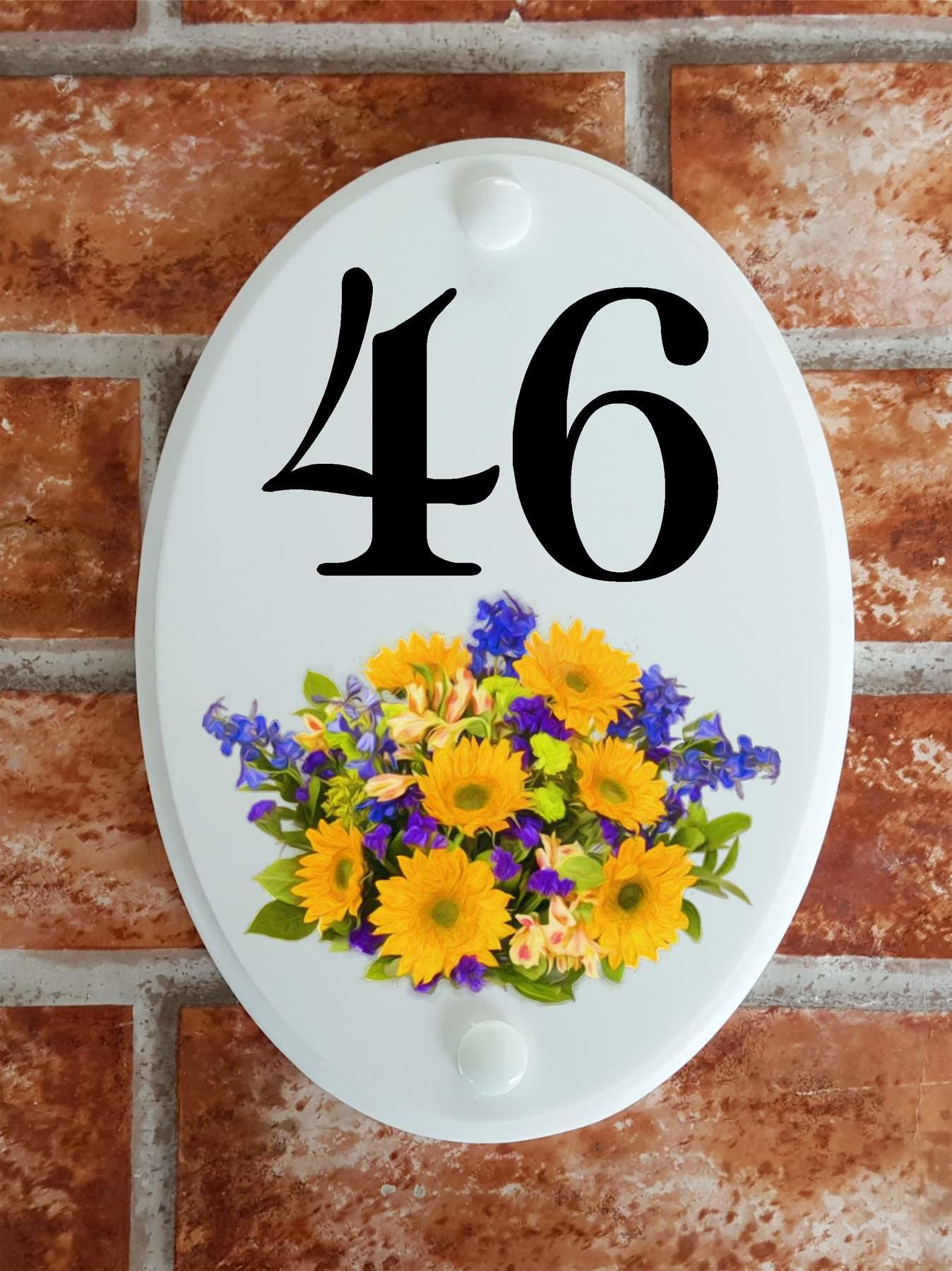House number plaque with mixed flowers picture