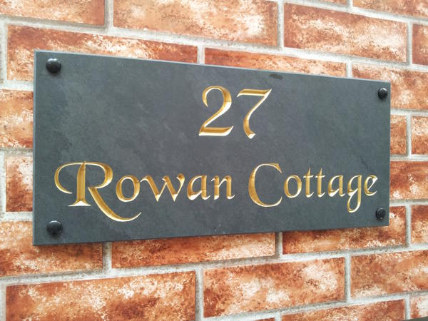 Slate home address sign with gold inlay 450mm x 200mm