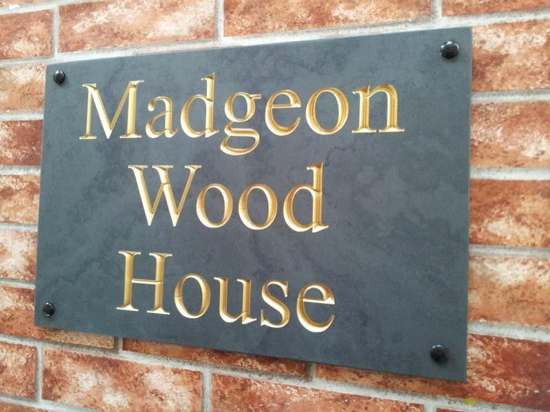 Large slate sign with v-carve engraving and gold inlay - 500mm x 300mm