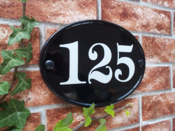 Large house number plate in black with 125 size 230mm x 165mm