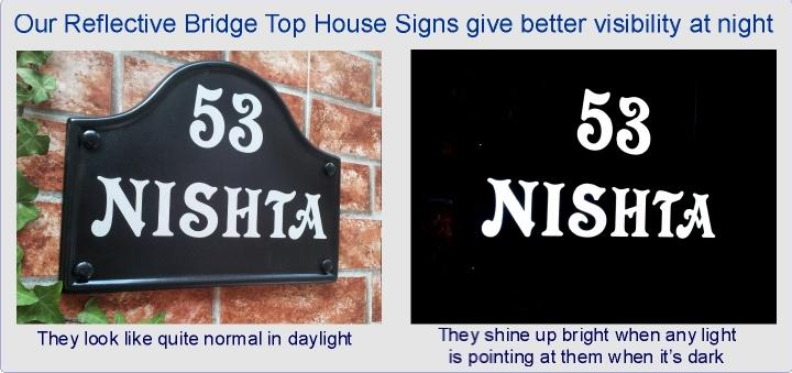 Reflective Bridge top House signs