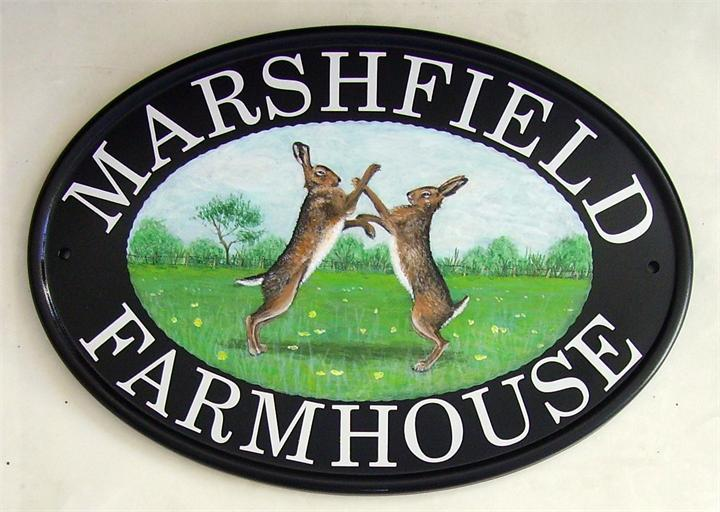 Boxing hares sign
