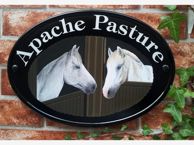 Two horses house sign