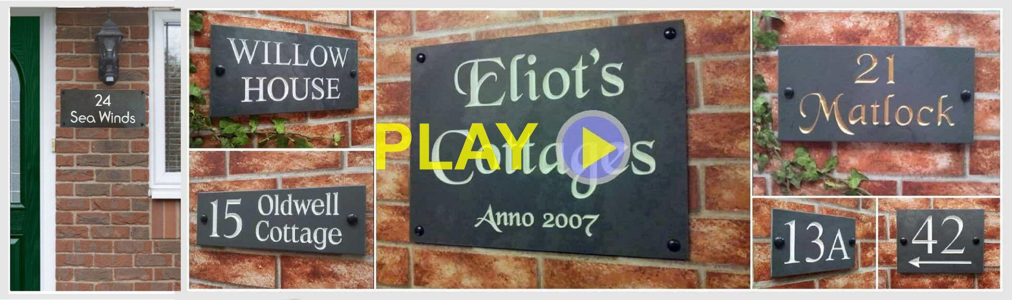 Smooth slate house signs by Yoursigns Ltd, UK