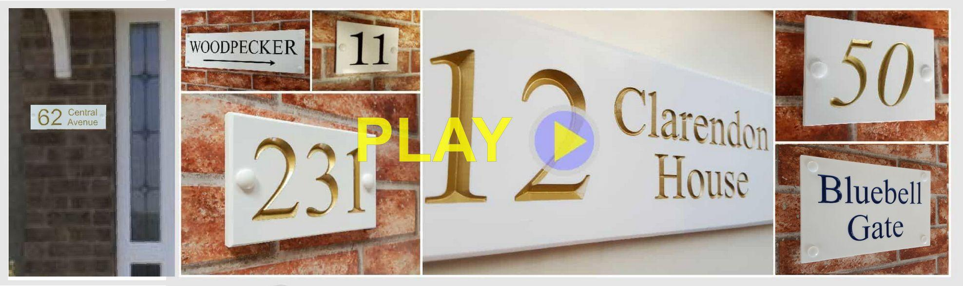 White engraved house plaques by Yoursigns Ltd